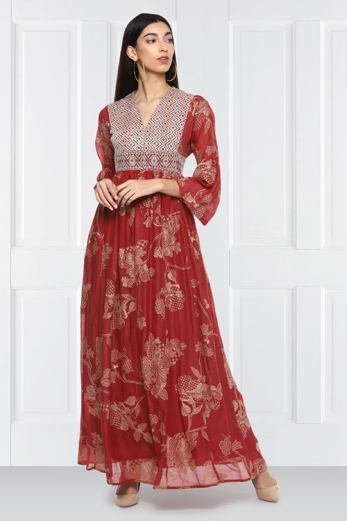 Yoke Red Embroidered